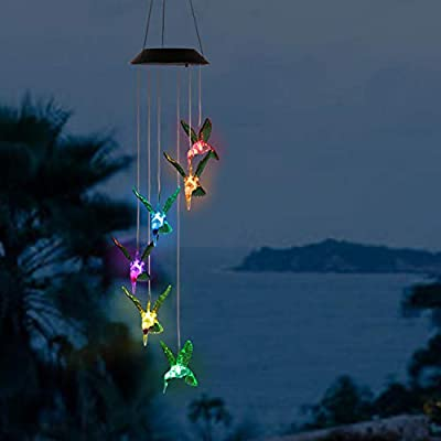 Solarek Hummingbird Color-Changing LED String Lights, Solar Mobile Wind Chime with 6 Waterproof Hummingbirds for Outdoor Décor