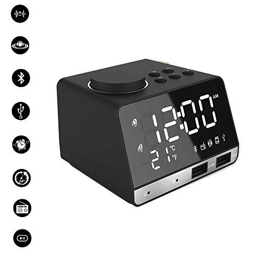 NBKLS Musik-Wecker Bluetooth Lautsprecher Protable drahtloser Bluetooth 4.2 Shock Tonqualität LED...