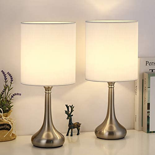 Bedside Table lamp Minimalist Silver Metal Base with White Fabric Lampshade Nightstand Lamps product image
