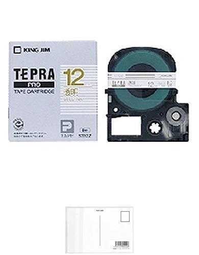 キングジム テープカートリッジ テプラPRO ST12Z 透明 金文字 【× 2 個 】 + 画材屋ドットコム ポストカードA