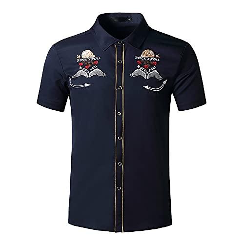 Tradicional Camisa Hombre Verano Tendencia Personalidad Estampado Ajuste Regular Hombre Shirt Modernos Botón Placket Manga Corta Henley Camisa Negocios Casual Anfitrión Camisa H-Black 2 M