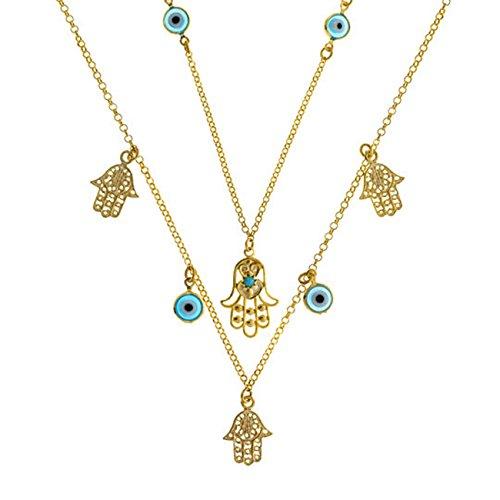 Córdoba Jewels | Gargantilla en Plata de Ley 925 bañada en Oro. Diseño Charms Mano de Fátima Colors Oro
