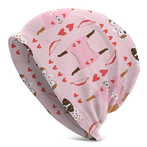 Gorro de Punto Gorros Gorro de Calavera Boxer Love Bug Cupido Disfraz Raza de Perro Tela Pink Slouchy Beanie Hat Gorro de Punto para Hombres y Mujeres