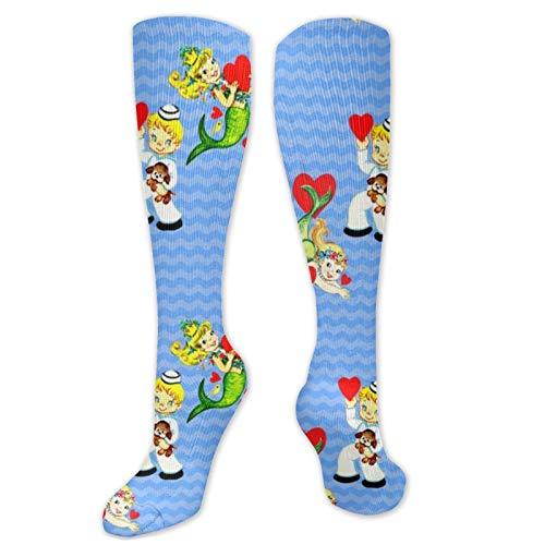 Klassische Socken für Kinder, Kitsch, Meerjungfrauen, Matrosen, Herzen, Valentinstag, Crew-Socken, bequeme Kompressionssocken, Laufsocken für Jugendliche und Erwachsene, langer Strumpf