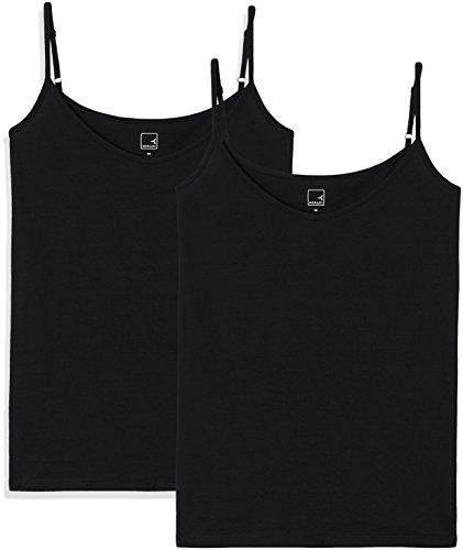 Amazon-Marke: MERAKI Top Damen mit V-Ausschnitt, 2er Pack, Schwarz (Black Beauty/Black Beauty), 34, Label: XS