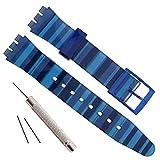 OliBoPo - Cinturino di ricambio impermeabile in gomma siliconica per orologio Swatch (17 mm 19 mm 20 mm) (19 mm, blu sfumato)
