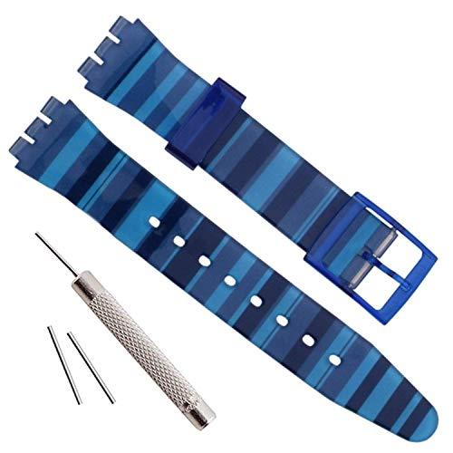 Olibopo - Correa de repuesto de silicona para reloj, resistente al agua, 17 mm, 19 mm y 20 mm (17 mm, azul gradiente)