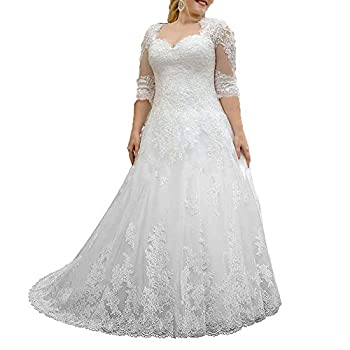 Women s Lace Wedding Dresses for Bride with 3/4 Sleeves Plus Size Bridal Gown White