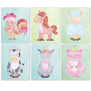 Baby Farm Rooster Horse Cow Lamb Donkey Pig Poster Prints Set of 6  8x10  Unframed Pictures Wall Art Decor Under 15 for Home Nursery Office Student Teacher Children Earth & Animals Fan