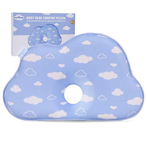 Eccomum Cuscino Neonato Plagiocefalia, in Memory Foam, Antisoffoco, Morbido, Traspirante, Design a Forma di Nuvola, Azzurro, 0-12 Mesi