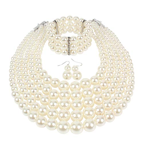 KOSMOS-LI Multi Layer Pearl Strand Necklace Bracelet and Earring Faux Ivory Pearl Jewelry Set