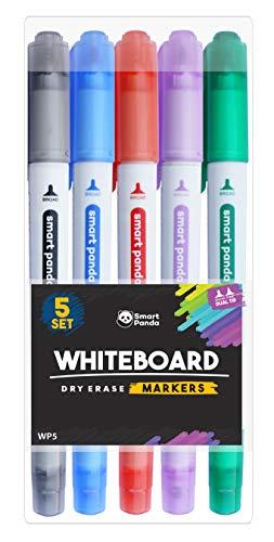 Rotuladores para Pizarra Blanca de SmartPanda – Punta Doble, Mediana y Fina – Borrado Seco, Ideal para el Hogar, Escuela u Oficina – Juego de 5 Colores Variados (5)