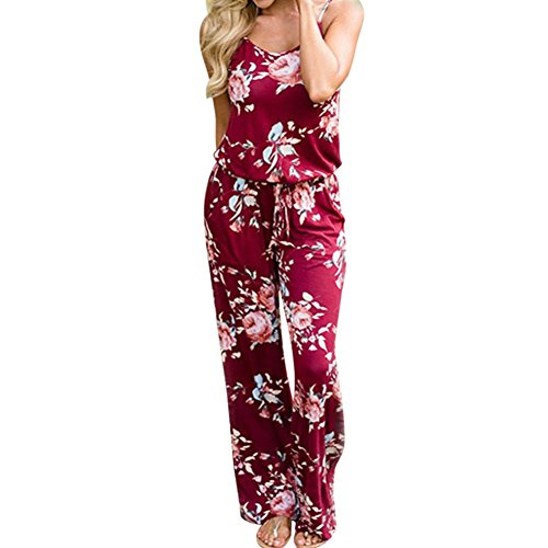 VEMOW Boho Jumpsuit Elegante Damen Frauen Floral Sleeveless Urlaub Lange Playsuits Casual Täglichen Party Strand Lose Romper Overall(Weinrot, 48 DE / 3XL CN)