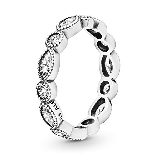 Pandora Jewelry Elegant Marquise Band Cubic Zirconia Ring in Sterling Silver, Size 6