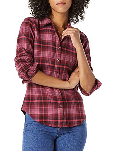camicia donna Goodthreads Camicia a Maniche Lunghe in Flanella Spazzolata Athletic-Shirts