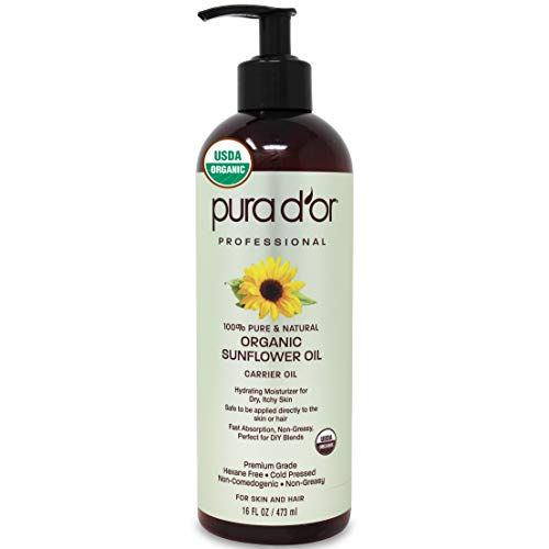 PURA D'OR Organic Sunflower Seed Oil (16 fl oz / 473 mL) - USDA Certified - 100% Pure & Natural Moisturizing & Nourishing Carrier Oil - For Skin, Face, & Hair (Packaging May Vary)