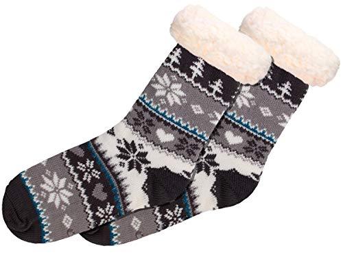 Alsino Hüttensocken Norweger Weihnachtssocken Größe 37-42 mit ABS Sohle für Damen und Herren, Farbe:SO-W-108-5 schwarz grau weiß