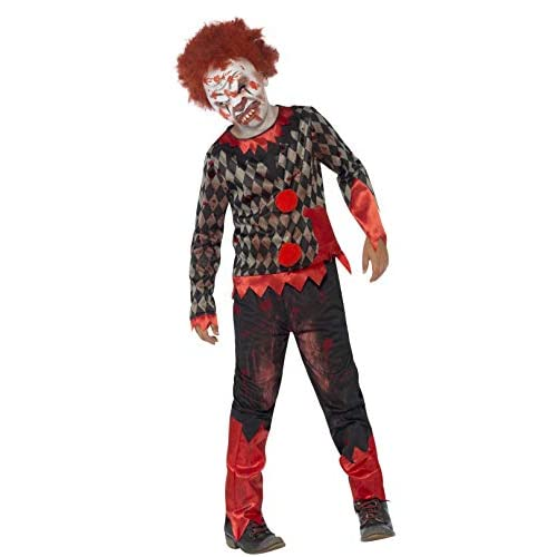 SMIFFYS Costume Deluxe Zombie Clown, Rosso & Verde, comprende Maschera in Lattice, Top e