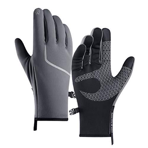 Guanti da ciclismo invernali, guanti da ciclismo impermeabili unisex di moda, guanti da equitazione con cerniera per MTB grigio M