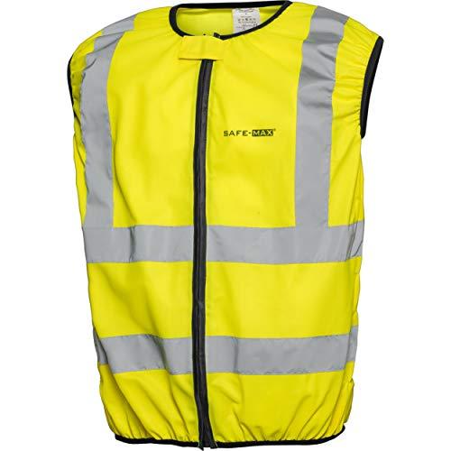 Safe Max® Sicherheitsweste Warnweste Motorrad Fahrrad gelb Warnweste Motorrad Warnweste mit Reißverschluss, reflektierende Streifen, Dehnbare Elemente, verdeckter Reißverschluss, Gelb, L