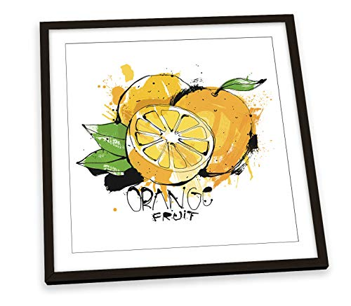 Canvas Geeks Frutas - Póster cuadrado con marco para comida de cocina, 45 cm x 45 cm