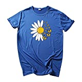 Camiseta básica de verano para mujer, parte superior en forma de corazón, elegante, básica, camiseta de manga corta, cuello redondo, camiseta de verano para mujer., azul B, L