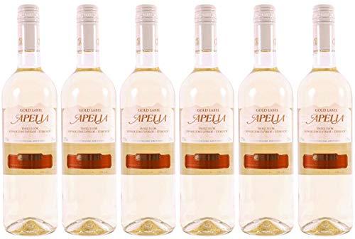 6x 0,75l Apelia Gold Label | Lieblicher Weißwein| Imiglykos | 11,5% Vol. | Kourtaki | + 1 x 20ml Olivenöl