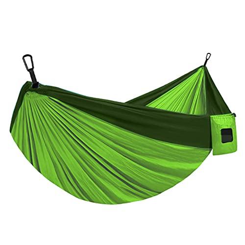FGJH Doppia Persona Amaca Amaca Campeggio Outdoor Travel Survival Garden Swing Hunting Letto a Pelo Letto Amaca Portatile 728 (Color : Dark Green, Size : 275cmX140cm)