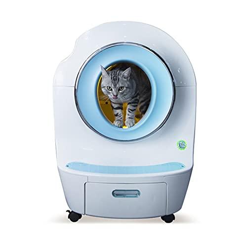Caja de arena elegante Caja eléctrica Aseo automático de gato Aseo grande Almacén esférico bajo de bajo ruido Caja de arena de gato 9L Capacidad de basura de gato, adecuado para gatos dentro de 33 lib