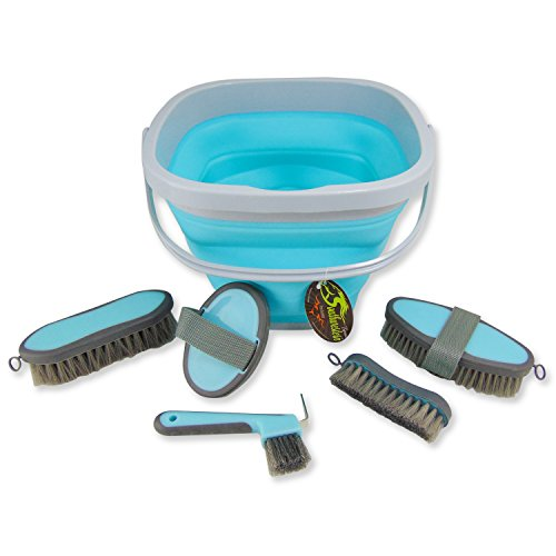 Southwestern Equine Collapsible Grooming Kit 10 Liter Bucket and 5 Grooming Tools (Turquoise)