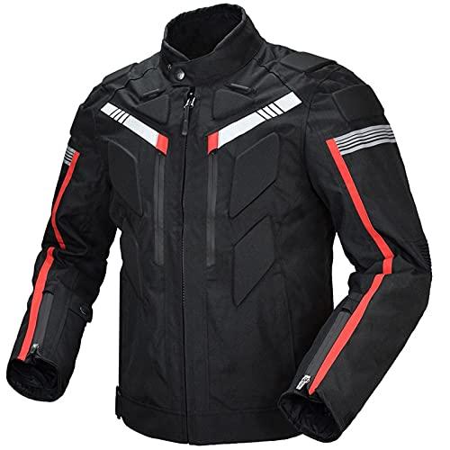 ETScooter Chaqueta Moto Hombre con CE Protecciones, Textil Impermeable Armadura Chaqueta de Motocicleta Traje de Ciclismo con Forro Térmico e Reflectante (Color : Black, Size : L)