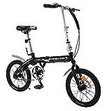 Axdwfd Vélos Enfants Vélo Pliant, vélo portatif de 16 Pouces, Enfants de vélo âgés de 5 à 8 Ans, Cadre en Acier à Haute teneur en Carbone (Color : Black)