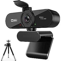 ARVIEMI Webcam - 2021 Streaming 1080P Full HD Web Camera con Microfono, Webcam con la Privacy e Treppiede Videocamera USB, Plug And Play per PC/Laptop Skype/Studio/Conferenza/Facetime