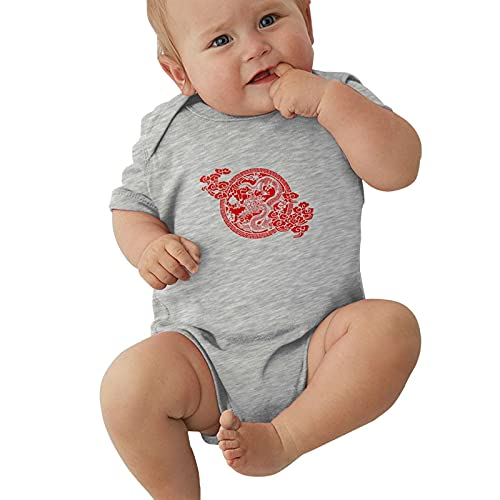 Chinese Dragon Paper Cutting Baby Boys Pijama Unisex Romper Baby Girls Body Infant Kawaii Jumpsuit Outfit 0-2t Niños,Gris,2 años