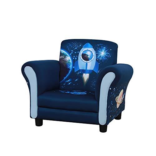 HOMCOM Kids Armchair Children Sofa Tub Chair Space Rocket Wood Frame Thick Padding High Back Armrest Anti Slip Feet Blue for 3-6 Yrs