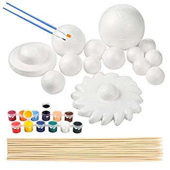 Pllieay Solar System Model Foam Ball Kit Includes 14PCS Mixed Sized Polystyrene Spheres Balls 12PCS Bamboo Sticks 12 Color Pigments 2PCS Painting Brushes for School Science Projects