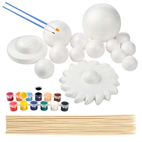 Pllieay Solar System Model Foam Ball Kit Includes 14PCS Mixed Sized Polystyrene Spheres Balls, 12PCS Bamboo Sticks, 12 Color Pigments, 2PCS Painting Brushes for School Science Projects