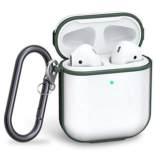 Tensea Protective Carrying Case for AirPods, Upgraded Matte PC Cover and TPU Frame with Keychain, Shockproof Protector Bumper Compatible with Apple Airpods 2 and 1 Wireless Charging Case (Dark Green)