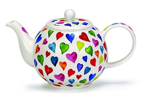 DUNOON Fine Bone China Teekanne warm Hearts| Bunte Herzen (Teekanne)