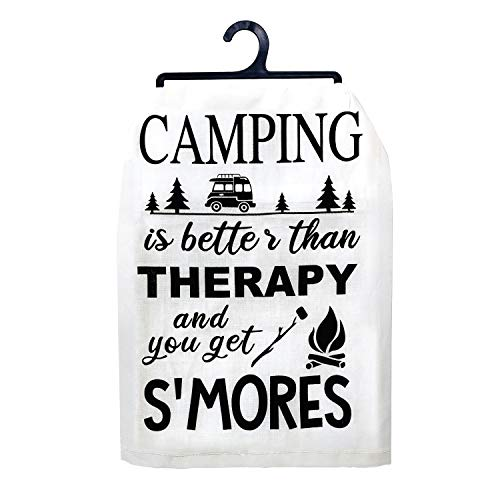 JennyGems | Camping is Better Than Therapy and You Get Smores | Dish Towel | Camping Gifts | Campers RV | Kitchen Towel Linen with Funny Sayings