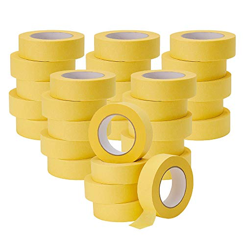 Lichamp 30-Pack Automotive Refinish Masking Tape Yellow 36mm x 55m, Cars Vehicles Auto Body Paint Tape, Automotive Painters Tape Bulk Set 1.4-inch x 180-foot x 30 Rolls (1800 Total Yards)