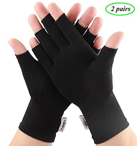 2 Pairs Compression Arthritis Gloves, Fingerless Gloves for Women Rheumatoid & Osteoarthritis - Joint Pain and Carpel Tunnel Relief Hand Gloves for Men (Black, Small-2 Pairs)