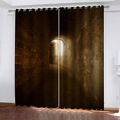UDKHJH 3D Isolierung Schattierung Vorhänge Dunkelheit Korridore Tunnel Lärmminderung Fit Kinder Für Wohnzimmer Mädchen Schlafzimmer Blackout Kinderzimmer Piercing Vorhänge 150X166Cm