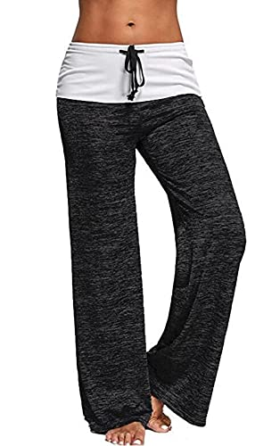 JIYINJIA Pantalones de Yoga para Mujer Pierna Ancha Salón Bootcut Pantalón con Cordón Cintura Alta Pantalones de Fitness Casuales Pantalones de Baile