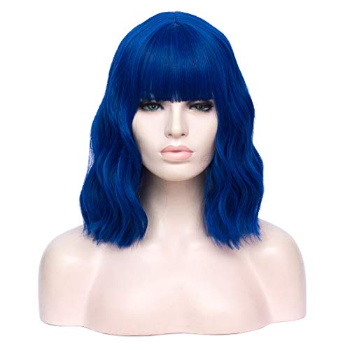 """TopWigy Bright Blue Short Curly Wave Wig with Bangs Short bob Wigs Shoulder Length Colorful Synthetic Heat Resitant Wigs Costume Party Bob Wig (Bright Sea Blue 14"""")"""