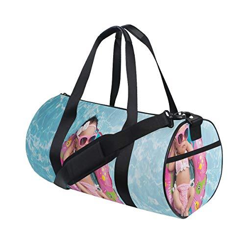 HARXISE Bolsa de Viaje,Niña de Nueve días durmiendo en un pequeño Anillo Inflable Gafas de Sol de Bikini de Ganchillo,Bolsa de Deporte con Compartimento para Sports Gym Bag