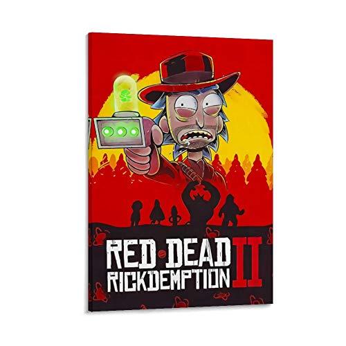 DRAGON VINES Impresión artística de animación de Rick y Morty Red Dead Redemption 2, impresión artística sobre lienzo, decoración del hogar, 50 x 75 cm