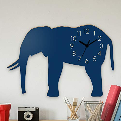 Yourlivingart - Orologio da parete con elefante blu, per bambini