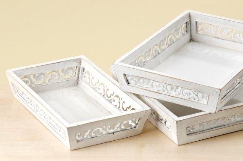 Deko Tablett Holz mit Metallranken weiß Landhausstil Shabby Look kleines Tablett