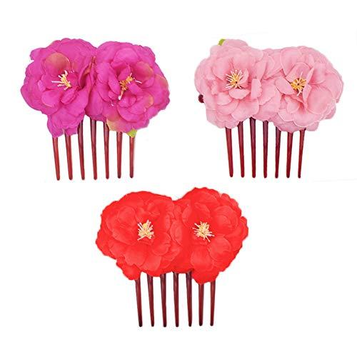 INTVN 3 Packung Rose Blume Haarspange Damen Hochzeit Haarspange für Damen und Mädchen Hochzeit Haarschmuck Haarclip Blume Haar Clip Flower Haarkämme 3 Farben